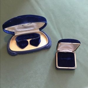 Vintage Blue Velvet Watch and Ring Case